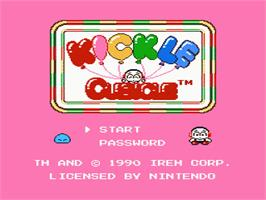 Title screen of Kickle Cubicle on the Nintendo NES.