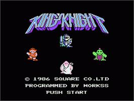 Title screen of King's Knight on the Nintendo NES.