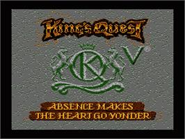 Title screen of King's Quest V: Absence Makes the Heart Go Yonder on the Nintendo NES.