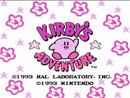Title screen of Kirby's Adventure on the Nintendo NES.