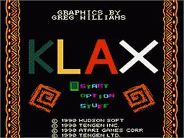 Title screen of Klax on the Nintendo NES.