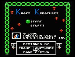 Title screen of Krazy Kreatures on the Nintendo NES.