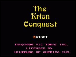 Title screen of Krion Conquest on the Nintendo NES.