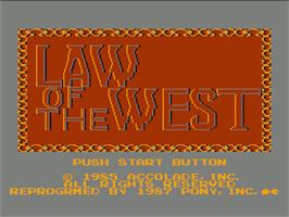 Title screen of Law of the West on the Nintendo NES.