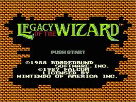 Title screen of Legacy of the Wizard on the Nintendo NES.