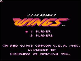 Title screen of Legendary Wings on the Nintendo NES.