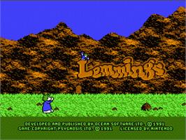 Title screen of Lemmings on the Nintendo NES.