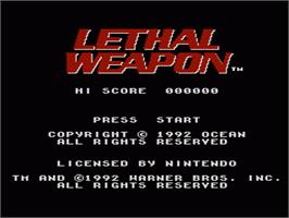 Title screen of Lethal Weapon on the Nintendo NES.