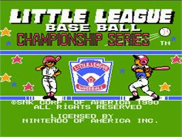 Title screen of Little League Baseball Championship Series on the Nintendo NES.