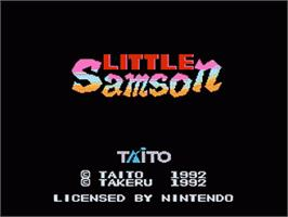 Title screen of Little Samson on the Nintendo NES.
