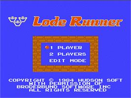 Title screen of Lode Runner on the Nintendo NES.