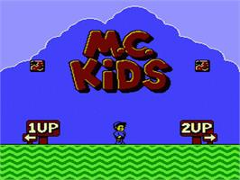 Title screen of M.C. Kids on the Nintendo NES.
