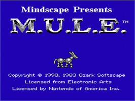 Title screen of MULE on the Nintendo NES.