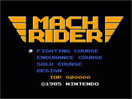 Title screen of Mach Rider on the Nintendo NES.