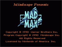 Title screen of Mad Max on the Nintendo NES.
