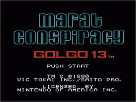 Title screen of Mafat Conspiracy on the Nintendo NES.