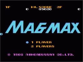 Title screen of Mag Max on the Nintendo NES.