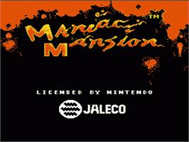 Title screen of Maniac Mansion on the Nintendo NES.