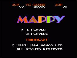 Title screen of Mappy on the Nintendo NES.
