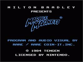 Title screen of Marble Madness on the Nintendo NES.
