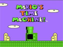 Title screen of Mario's Time Machine on the Nintendo NES.