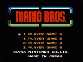 Title screen of Mario Bros. on the Nintendo NES.