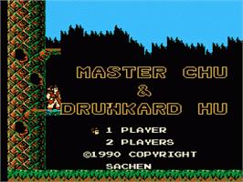 Title screen of Master Chu And The Drunkard Hu on the Nintendo NES.