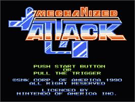 Title screen of Mechanized Attack on the Nintendo NES.