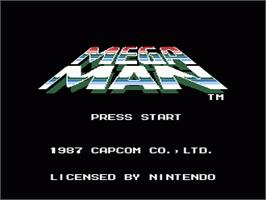 Title screen of Mega Man on the Nintendo NES.