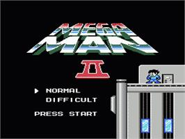 Title screen of Mega Man 2 on the Nintendo NES.