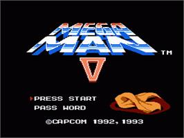 Title screen of Mega Man 5 on the Nintendo NES.