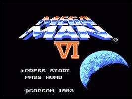 Title screen of Mega Man 6 on the Nintendo NES.