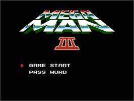 Title screen of Mega Man III on the Nintendo NES.