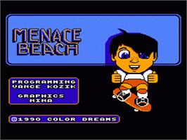 Title screen of Menace Beach on the Nintendo NES.