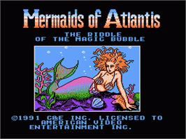 Title screen of Mermaids of Atlantis: A Riddle of a Magic Bubble on the Nintendo NES.