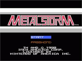 Title screen of Metal Storm on the Nintendo NES.