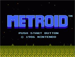 Title screen of Metroid on the Nintendo NES.