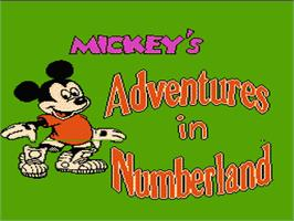 Title screen of Mickey's Adventures in Numberland on the Nintendo NES.