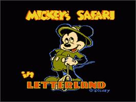 Title screen of Mickey's Safari In Letterland on the Nintendo NES.