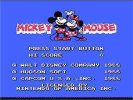 Title screen of Mickey Mousecapade on the Nintendo NES.