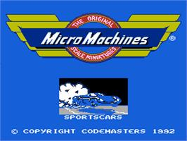 Title screen of Micro Machines on the Nintendo NES.