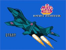Title screen of Mig-29 Soviet Fighter on the Nintendo NES.