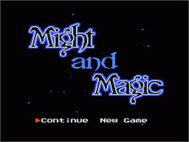 Title screen of Might and Magic: Secret of the Inner Sanctum on the Nintendo NES.