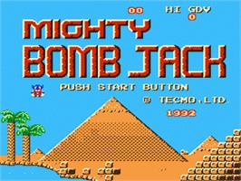 Title screen of Mighty Bombjack on the Nintendo NES.