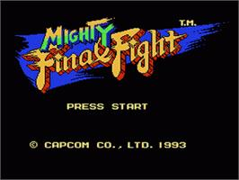 Title screen of Mighty Final Fight on the Nintendo NES.