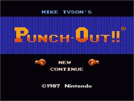 Title screen of Mike Tyson's Punch-Out!! on the Nintendo NES.
