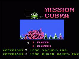 Title screen of Mission Cobra on the Nintendo NES.