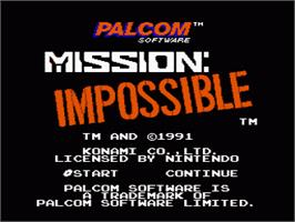 Title screen of Mission Impossible on the Nintendo NES.