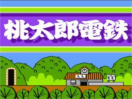 Title screen of Momotarou Dentetsu on the Nintendo NES.