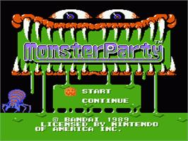 Title screen of Monster Party on the Nintendo NES.